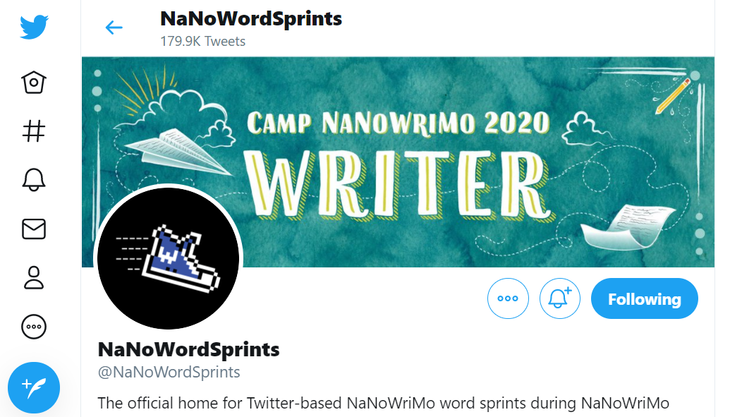 NaNoWordSprints on Twitter is part of the large Preptober writing community.